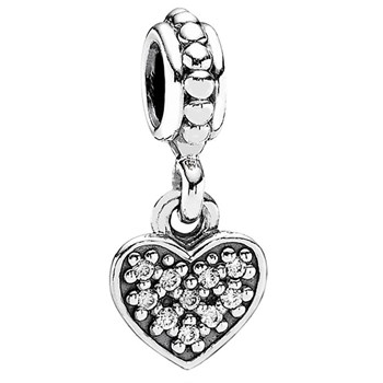 PANDORA Pavé Heart with Clear CZ Dangle-342090