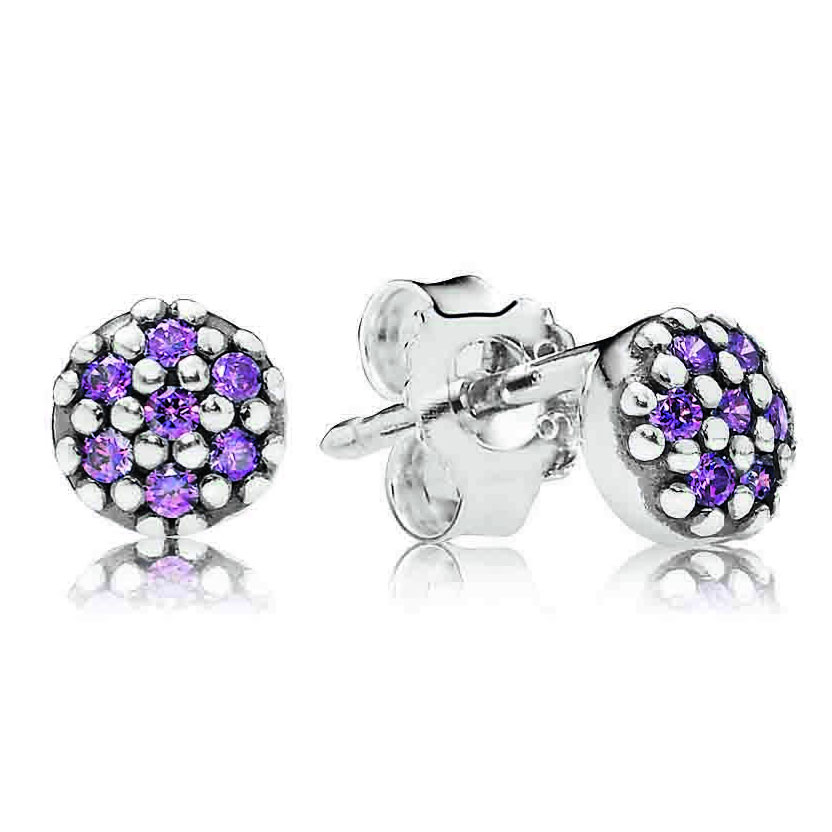 344367-PANDORA Purple Pavé Stud Earrings RETIRED ONLY 2 PAIRS LEFT!