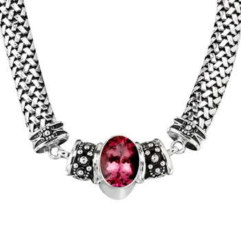 Pink Quartz Chunky Necklace-342794