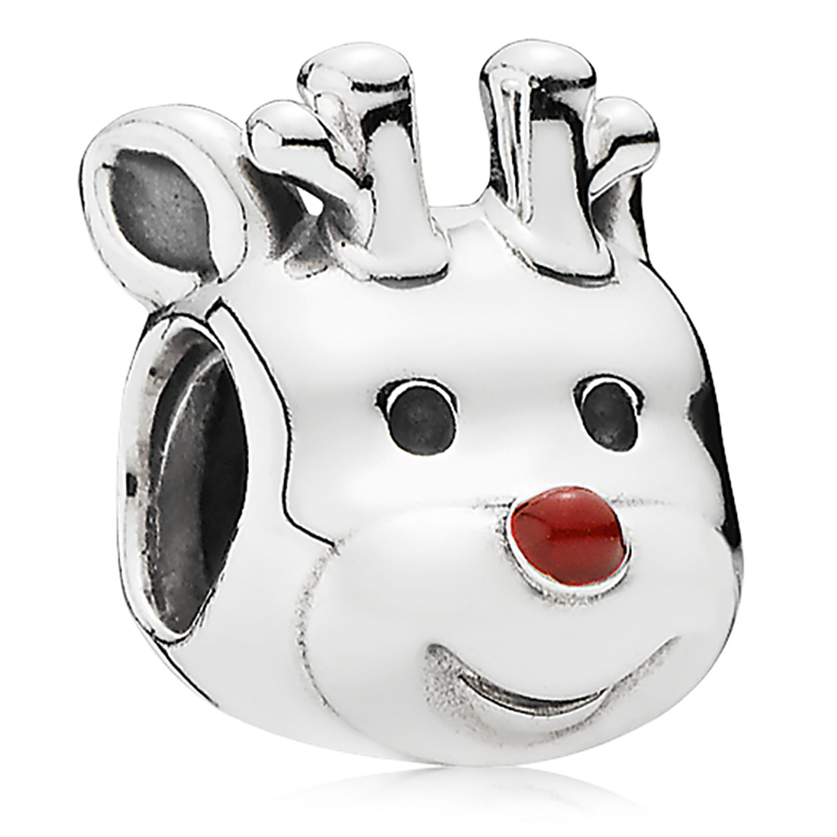802-3143-PANDORA Red-Nosed Reindeer with Red Enamel Charm