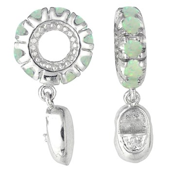 336813-Storywheels Opal & Diamond Baby Shoe Dangle Sterling Silver Wheel ONLY 1 AVAILABLE!