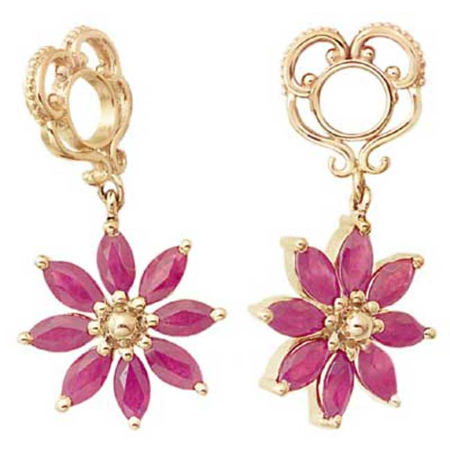 333960-Storywheels Ruby Poinsettia Dangle 14K Gold Wheel ONLY 1 AVAILABLE!