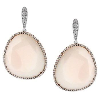 Diamond & Pink Opal Earrings-344783