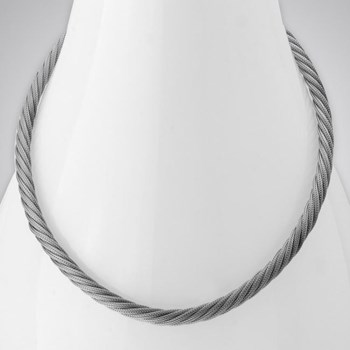 343274-Rhodium Rope Twist Necklace ONLY 2 LEFT!