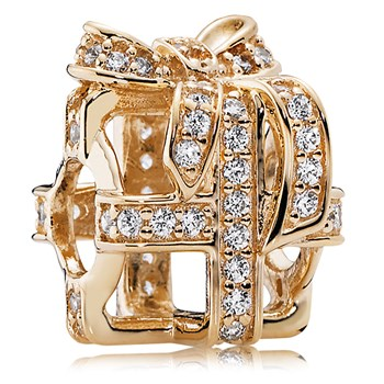 PANDORA 14K All Wrapped Up with Clear CZ Charm-806-84