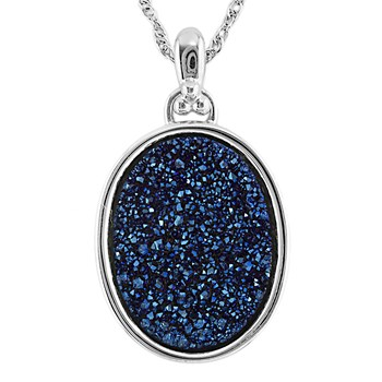 Cobalt Drusy Oval Necklace-341993