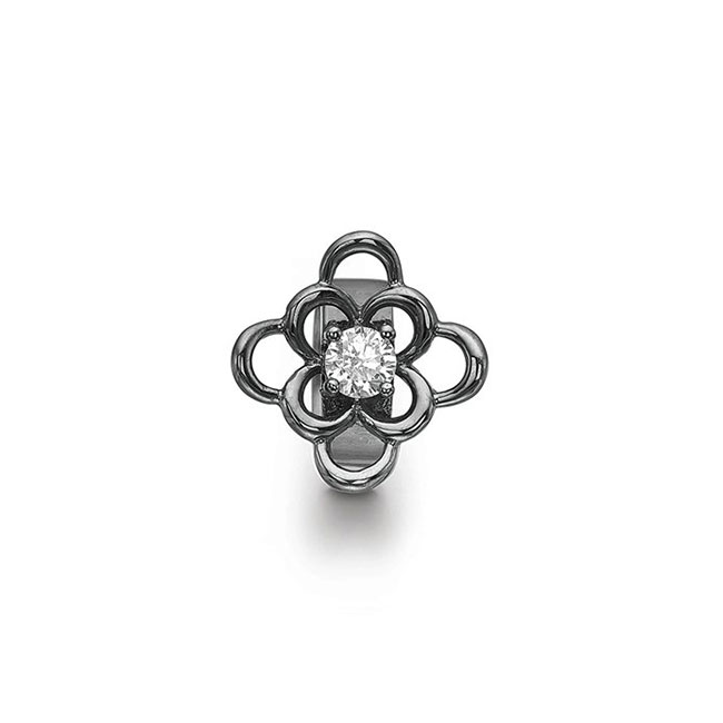 STORY by Kranz & Ziegler Black Rhodium Anemone Ring Button PRE-ORDER
