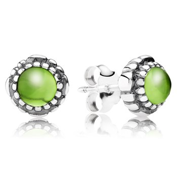344329-PANDORA Peridot August Birthday Bloom Stud Earrings
