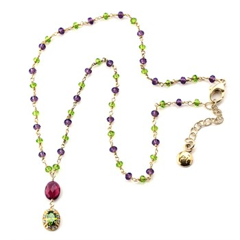 348489-Peridot & Garnet Necklace