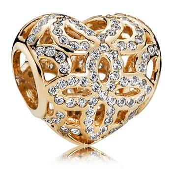 PANDORA 14K Love & Appreciation with Clear CZ Charm-806-82