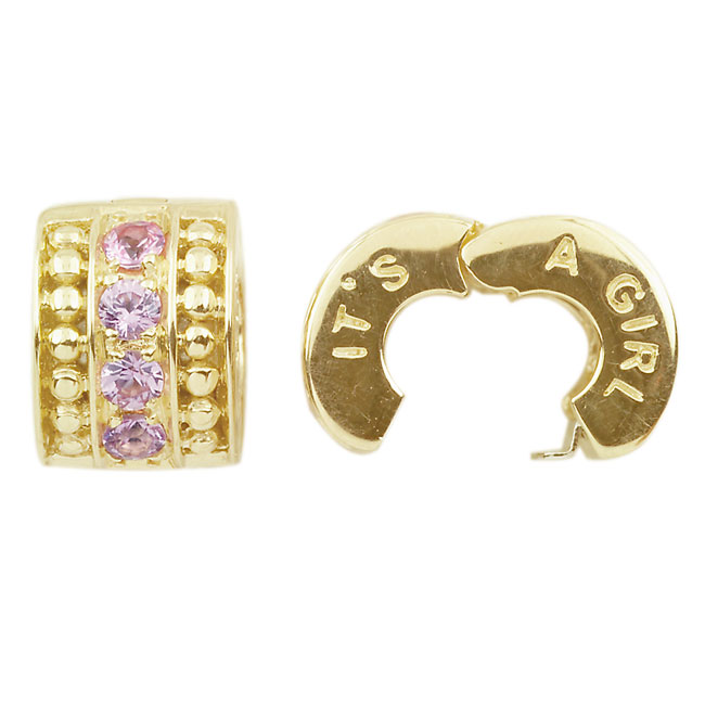 278522-Storywheels It's A Girl Pink Sapphire 14K Gold Clip ONLY 2 AVAILABLE!