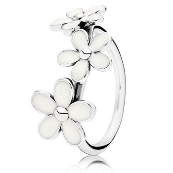 PANDORA Darling Daisies with White Enamel Stackable Ring