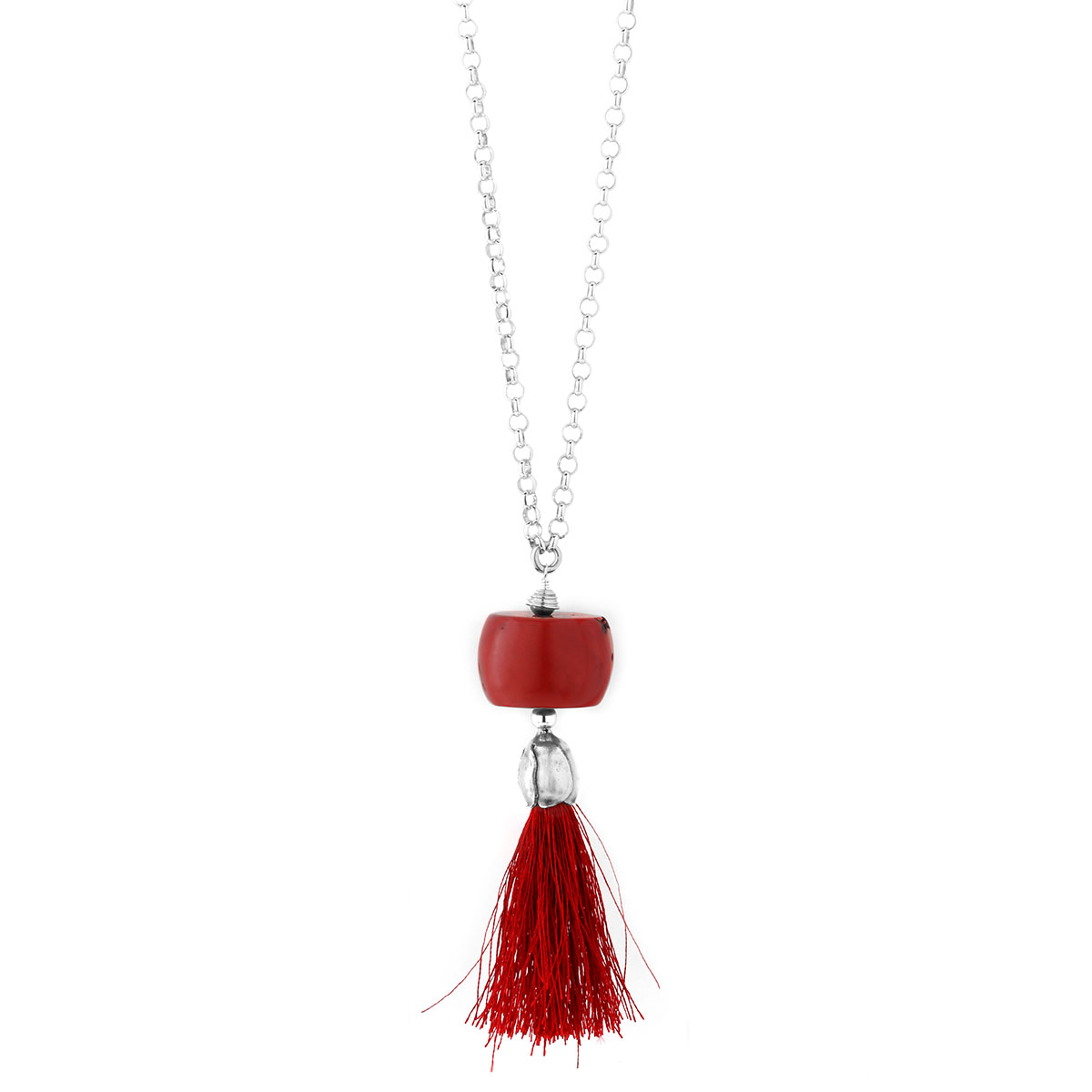 235-487-Red Coral Tassel Necklace