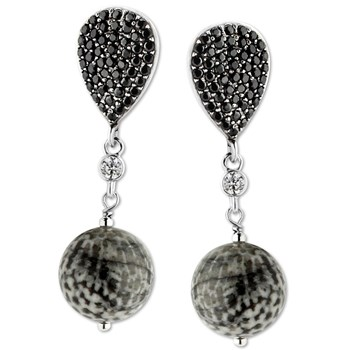 347563-Bryozoan Coral & Spinel Earrings