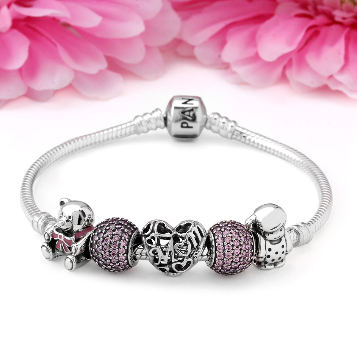 1264-PANDORA A Mother's Love from Daughter Charm Bracelet
