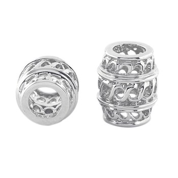 300940-Storywheels Open Weave Barrel Spacer 14K White Gold Wheel ONLY 3 AVAILABLE!