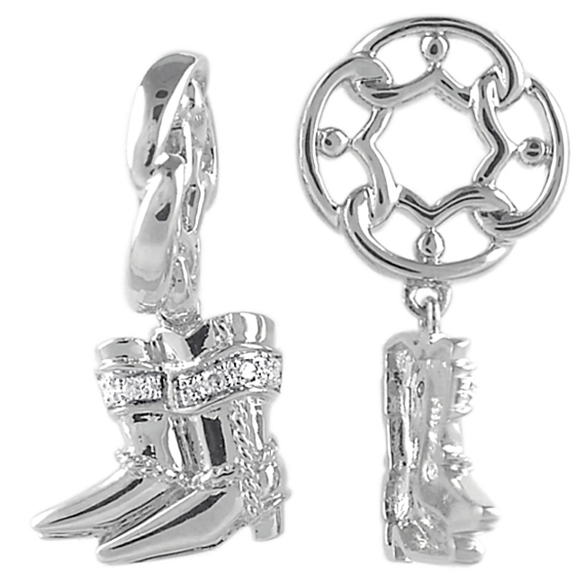 335667-Storywheels Cowboy Boots with Diamond Dangle Sterling Silver Wheel