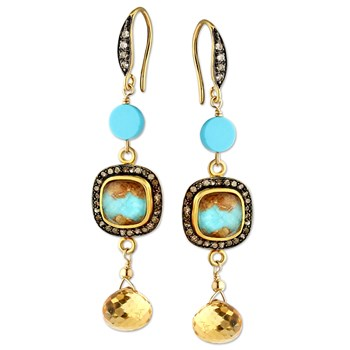 347539-Sleeping Beauty Turquoise & Citrine Earrings