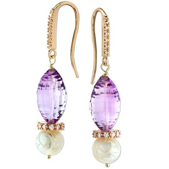 210-469- Amethyst &  Pearl Earrings