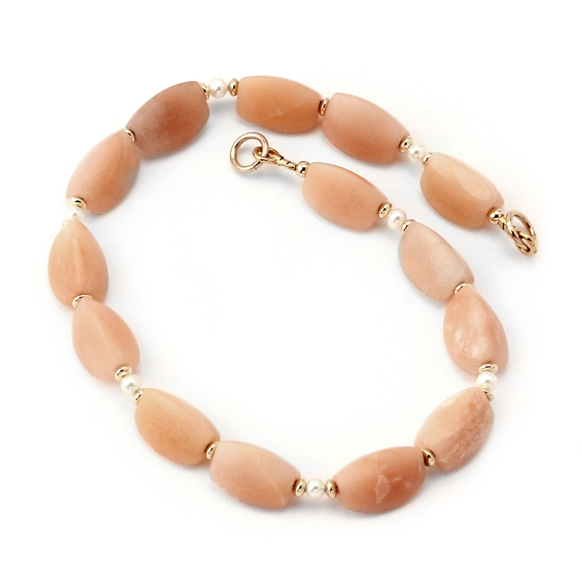 341405-Peach Adventurine & Pearl Interchangeable Strand