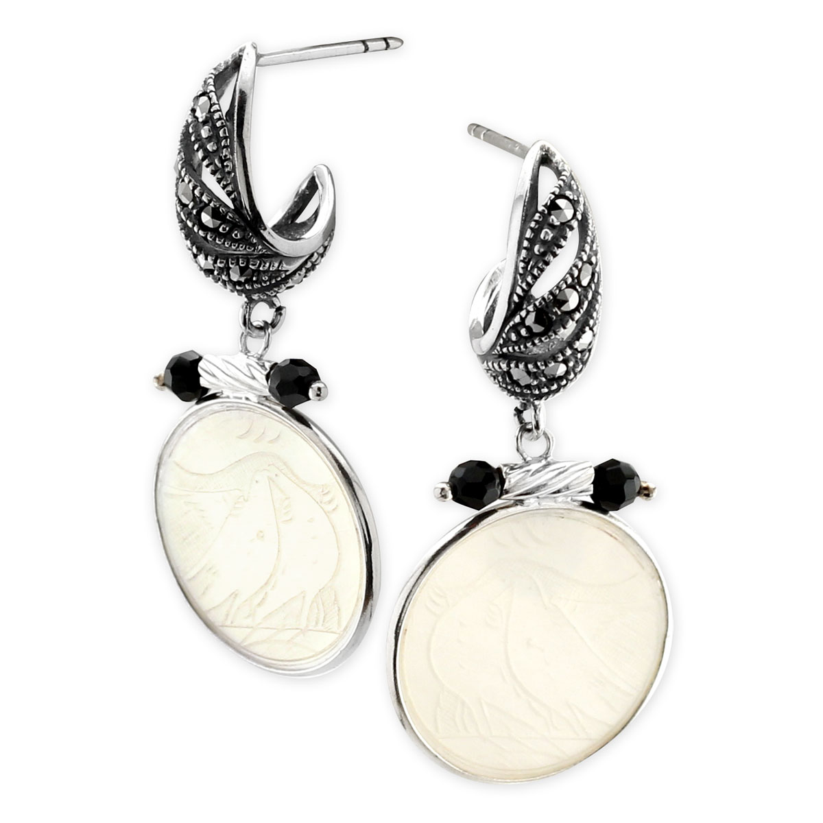 341799-Donna Chambers Round Gambling Chip and Black Onyx Earrings