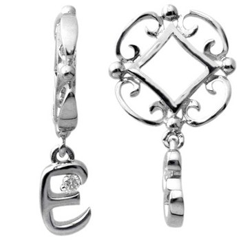 Storywheels Initials 'E' Dangle with Diamond Sterling Silver Wheel - LIMITED QUANTITIES!-336733