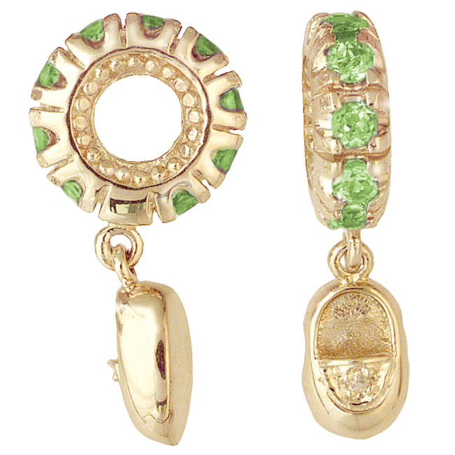 265133-Storywheels Peridot & Diamond Baby Shoe Dangle 14K Gold Wheel ONLY 2 AVAILABLE!