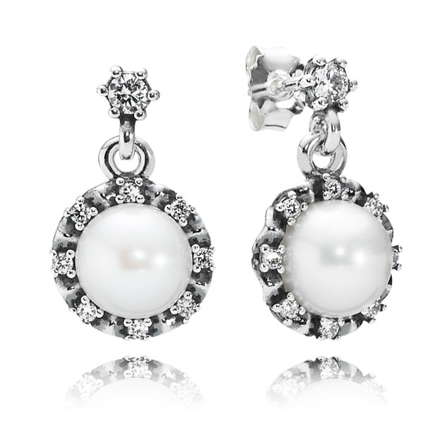 PANDORA Everlasting Grace with White Pearl and Clear CZ Dangle Earrings-348209