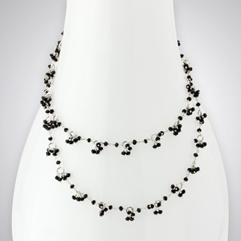 Onyx SS Circles Necklace