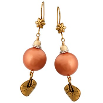 Pearl Leaf Earrings-334217