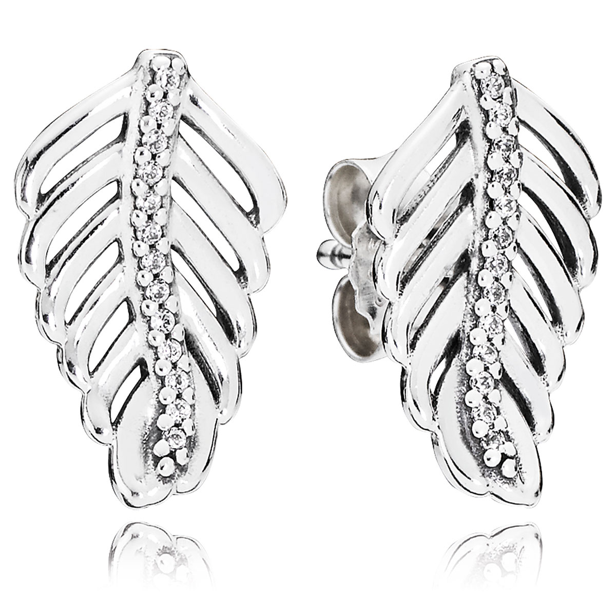 804-418-PANDORA Shimmering Feathers with Clear CZ Stud Earrings