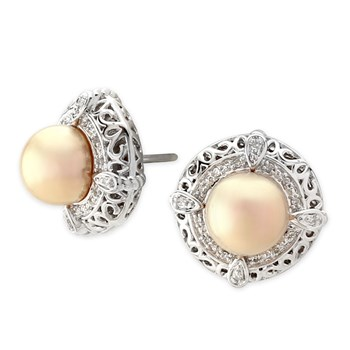 Golden Metallic Freshwater Pearl Earings-341331