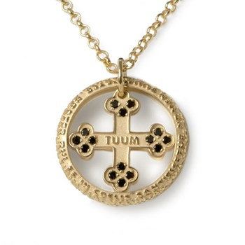 Our Father Flore Gold & Black Diamond Necklace