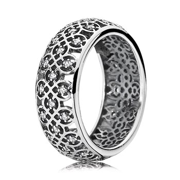 PANDORA Intricate Lattice with Clear CZ Ring RETIRED LIMITED QUANTITIES!