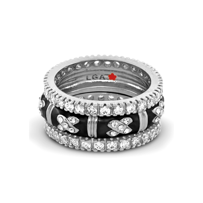 342543-Black 'X Design' Ring Set