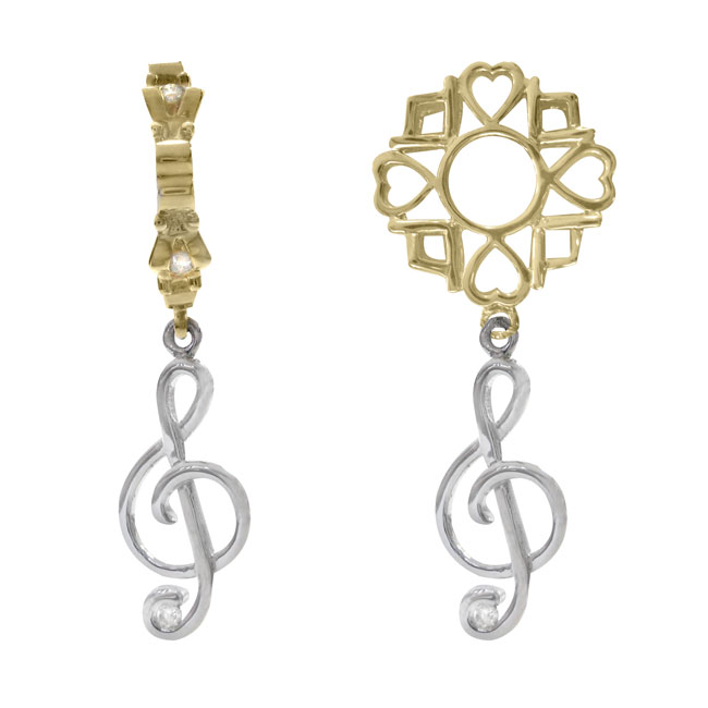 274890-Storywheels Treble Clef with Diamond Dangle 14K White Gold/14K Gold Wheel ONLY 3 AVAILABLE!