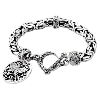 342804-Silver Butterfly Dangle Bracelet