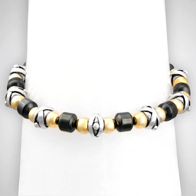 206921-Sterling Silver, 14K Gold Fill and Hematite Bracelet