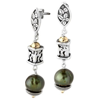 343116-Green Pearl and Silver Leaf Earrings
