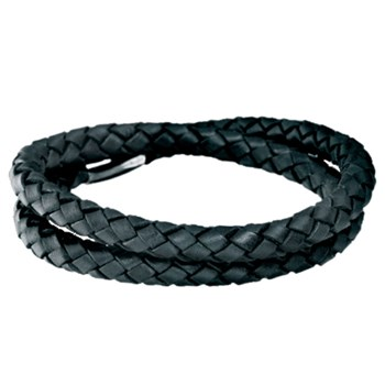 STORY by Kranz & Ziegler Double Wrap Black Braided Leather Bracelet