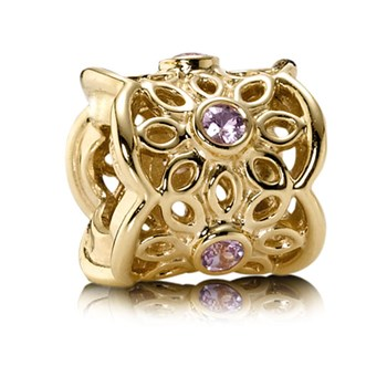 PANDORA 14K Golden Radiance with Pink Sapphire Charm 337196 RETIRED ONLY 3 LEFT!