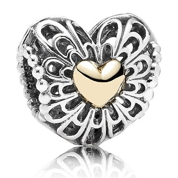 346718-PANDORA Vintage Heart Charm with 14K Charm - Limited Edition
