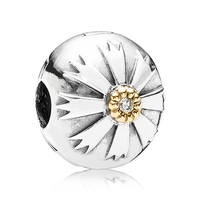 341617-PANDORA Friendship Flower with 14K and Clear CZ Clip