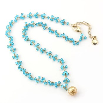 Golden Pearl & Quartz Necklace-348522
