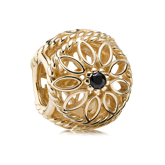 344249-PANDORA 14K Delicate Beauty with Black Spinel Charm