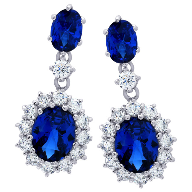 338524-Sapphire CZ Earrings ONLY 1 PAIR LEFT!