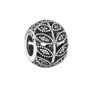 PANDORA Sparkling Leaves with Clear CZ Charm RETIRED LIMITED QUANTITIES!