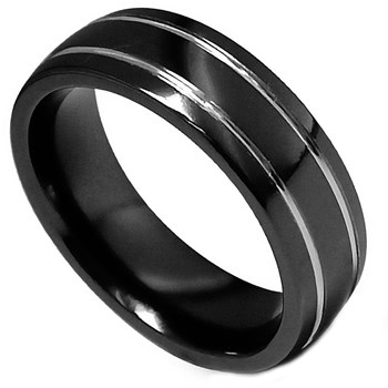 Edward Mirell Men's Black Titanium Ring
