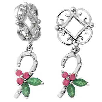 336814-Storywheels Ruby & Emerald Candy Cane Dangle Sterling Silver Wheel