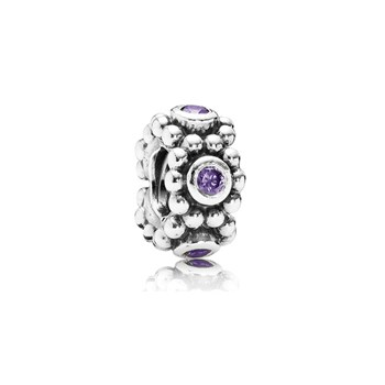 346397-PANDORA Her Majesty with Purple CZ Spacer